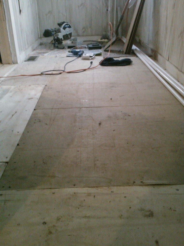 The sub-flooring in our mud room. All done with pallet wood.