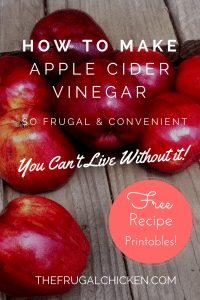 Apple Cider Vinegar is so easy to make, and you can make it at home. In this article, you'll learn how to make ACV for FREE and how to use it around the home. From FrugalChicken.