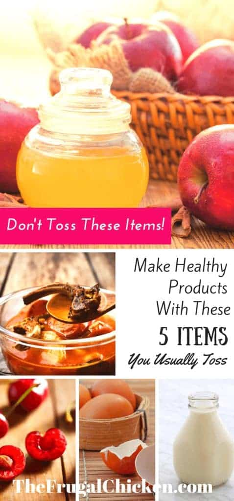 Don't throw these 5 items away! Create something healthy with them instead! Here's 5 homesteading hacks to turn items you usually toss into something frugal you'll use every day! From FrugalChicken