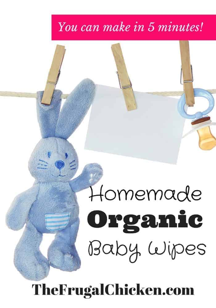 Want organic baby wipes? Don't even understand the ingredients in yours? Here's my recipe for homemade natural baby wipes you can make in 5 minutes! Try it out! From FrugalChicken
