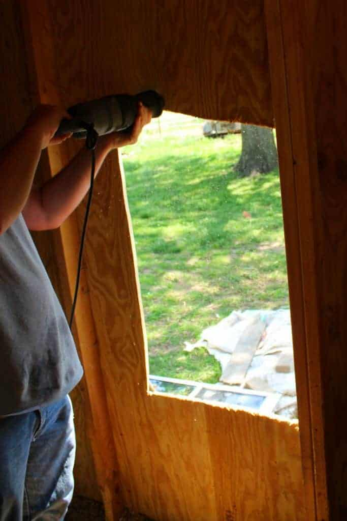 Backyard chicken coop window opening