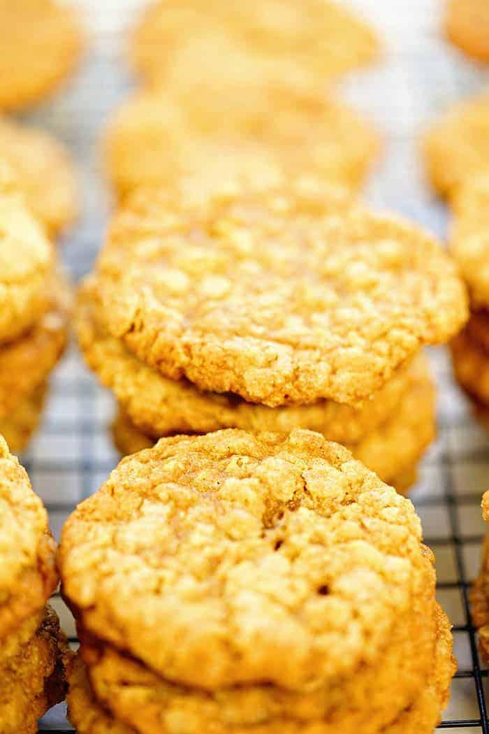 Stacks of oatmeal peanut butter cookies