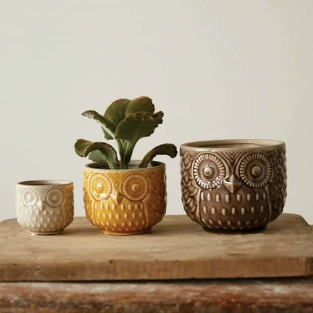 Stoneware Owl Pots Set Of 3