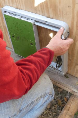 automatic coop door install