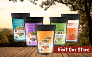 5 bags of chicken treats with nature background